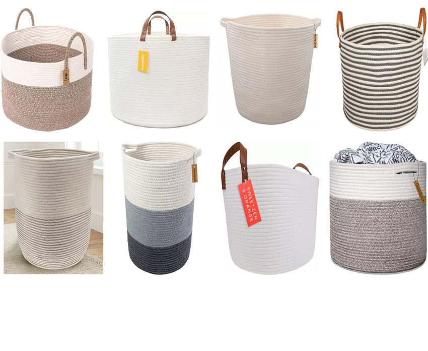 large woven cotton rope Plant storage basket with lid